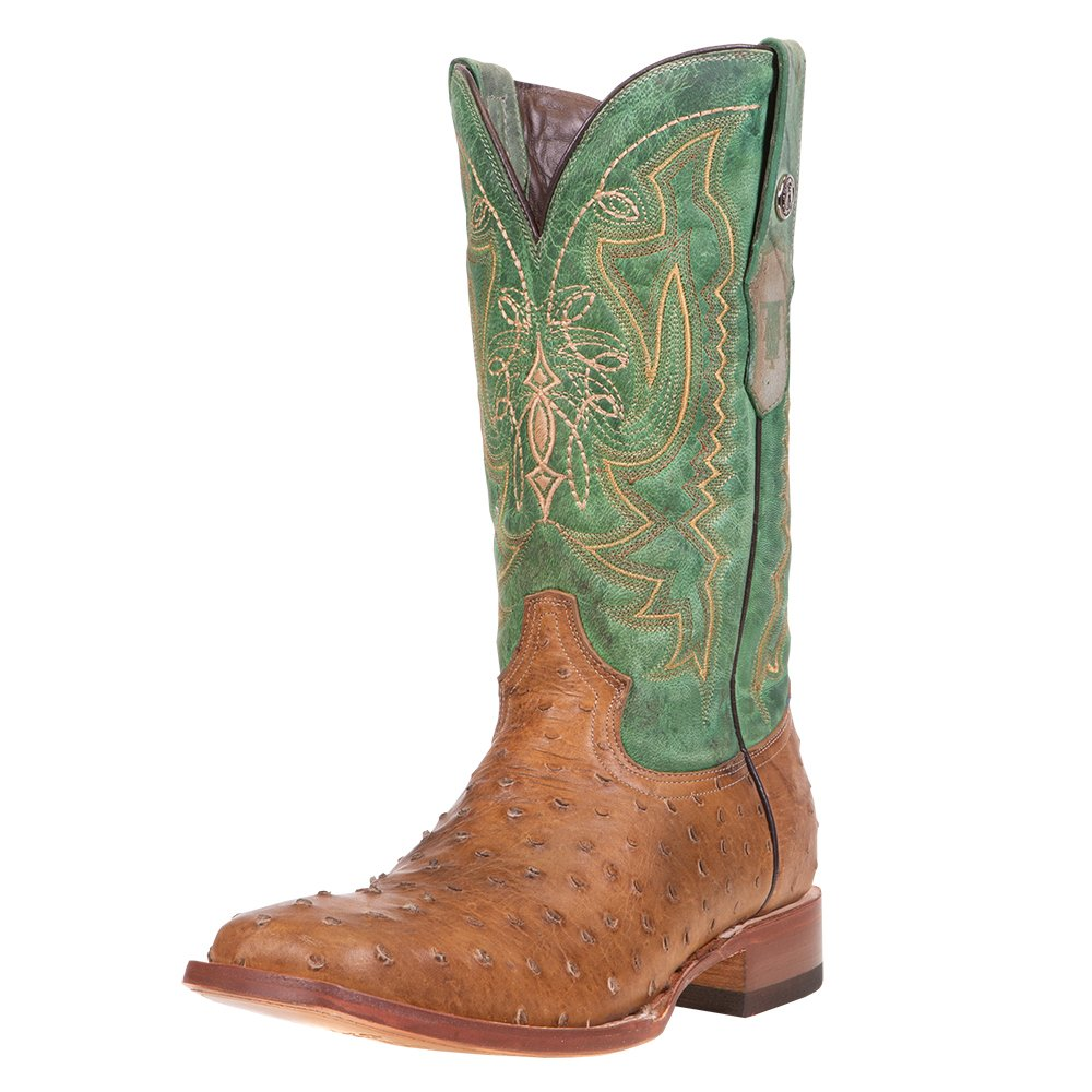 Men's Tanner Mark Antique Tan Full Quill Ostrich Print Cowboy Boots