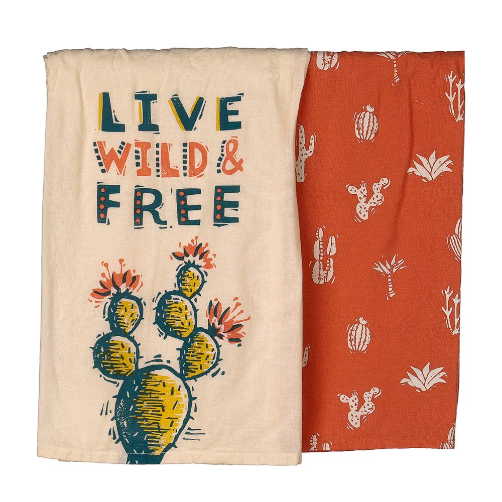 Primitives By Kathy Live Wild And Free Dish Towel