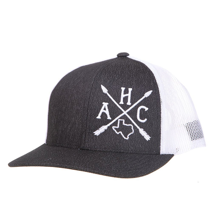 Mens Armadillo Hat Co Dark Denim/White Mesh Cap With Arrow Embroidery