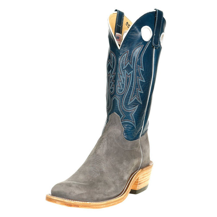 "Men's Olathe Smoked Bacon Roughout 13"" Navy Veal Top Square Toe Cowboy Boot"