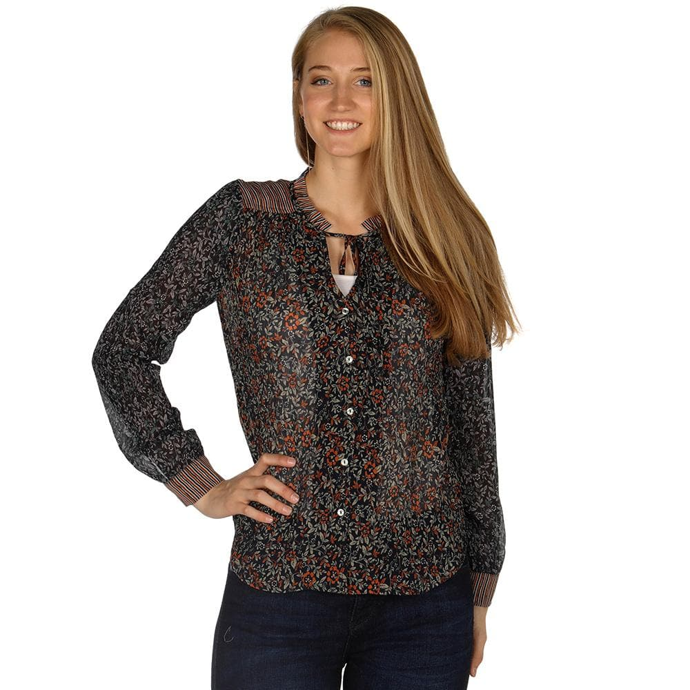 Ladies Mystree Rust/Navy Print Top