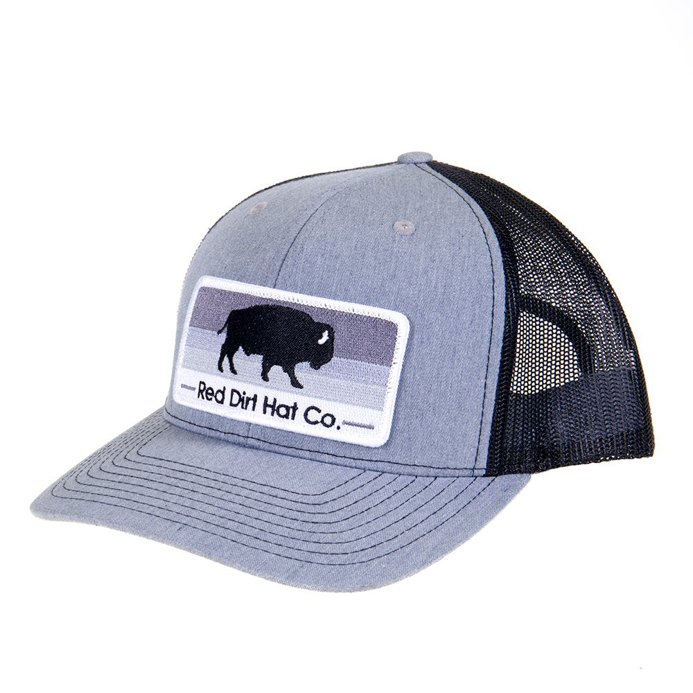 Mens Red Dirt Hat Co Grey/Black With Grey Striped Buffalo Patch Cap