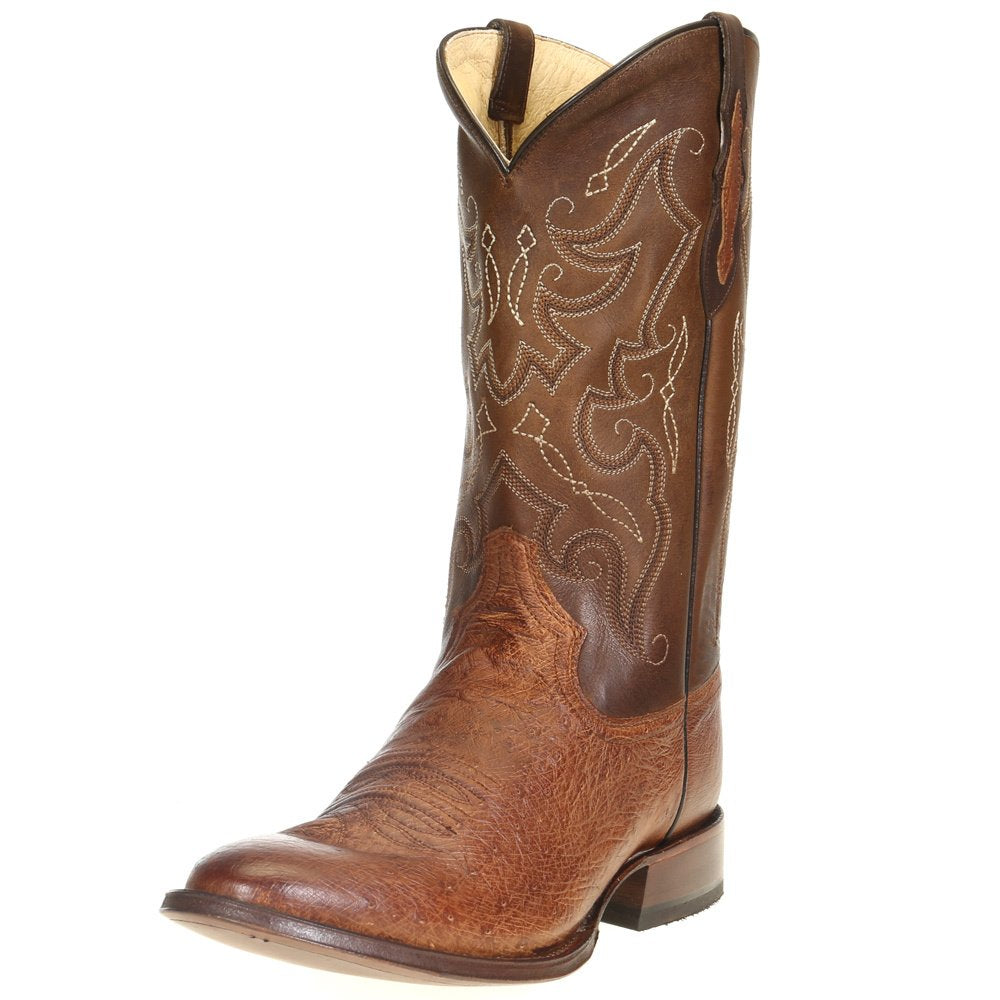 "Men's Tony Lama Patron Saddle Smooth Ostrich 13"" Walnut Tundra Top Cowboy Boots"