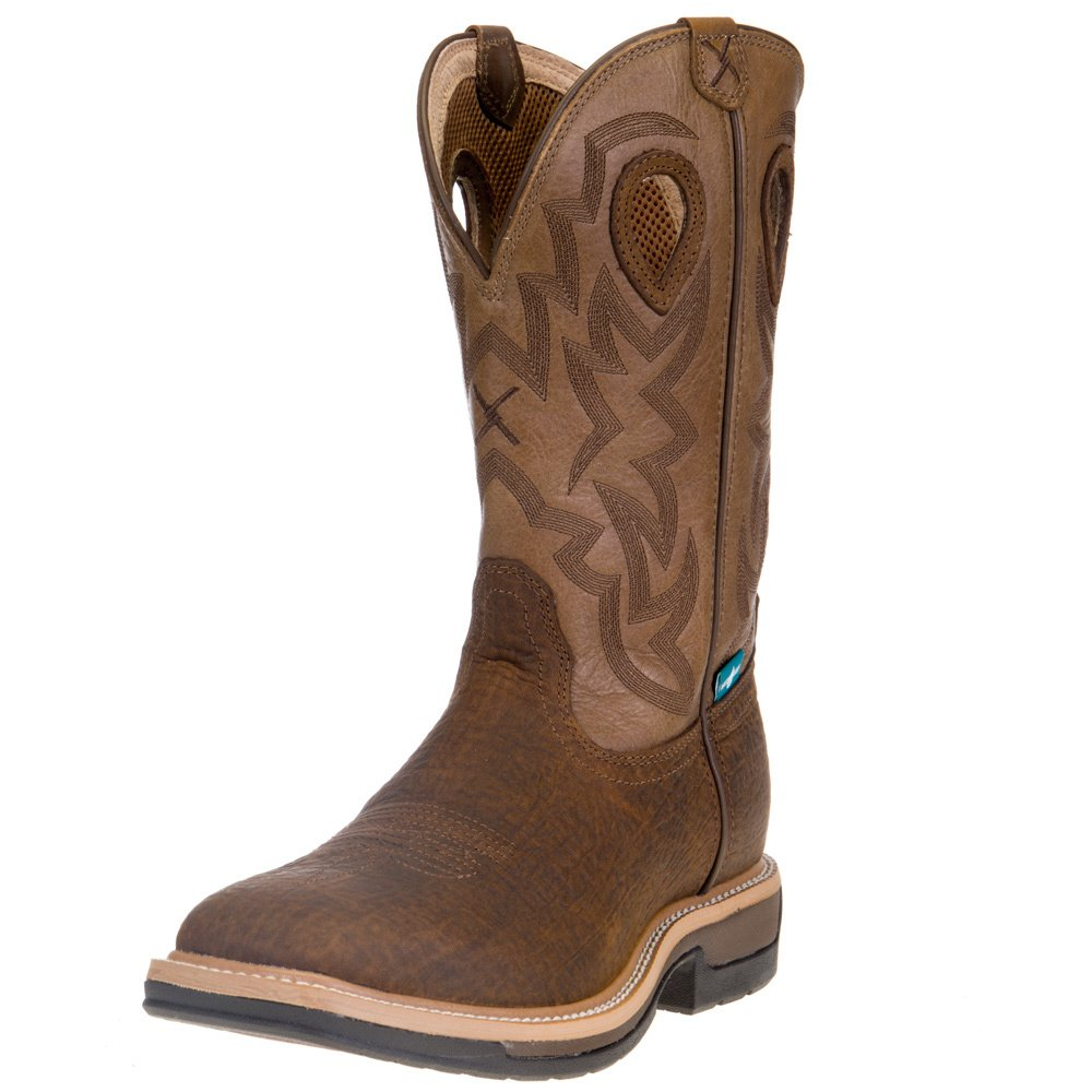"Men's Twisted X Lite Cowboy Bark Brown 12"" Tan Top Waterproof Work Boot"