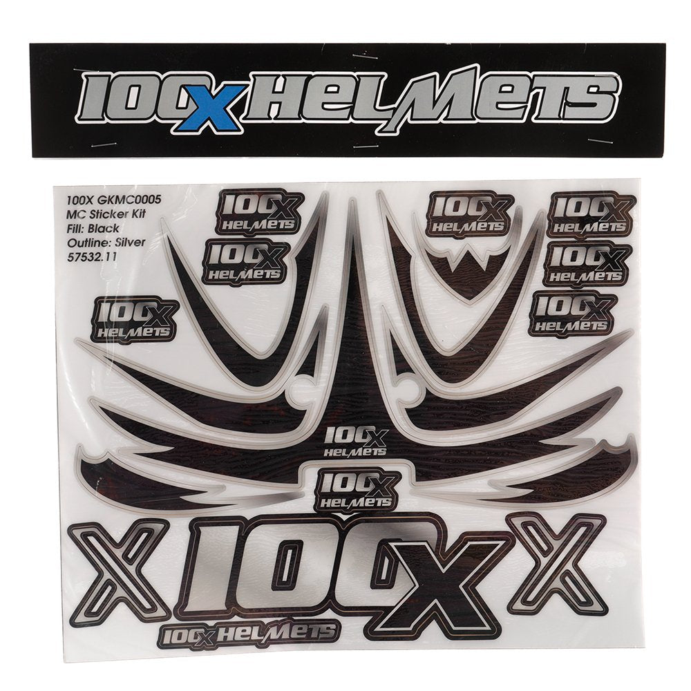100 X Helmets Black and Silver Sticker Set