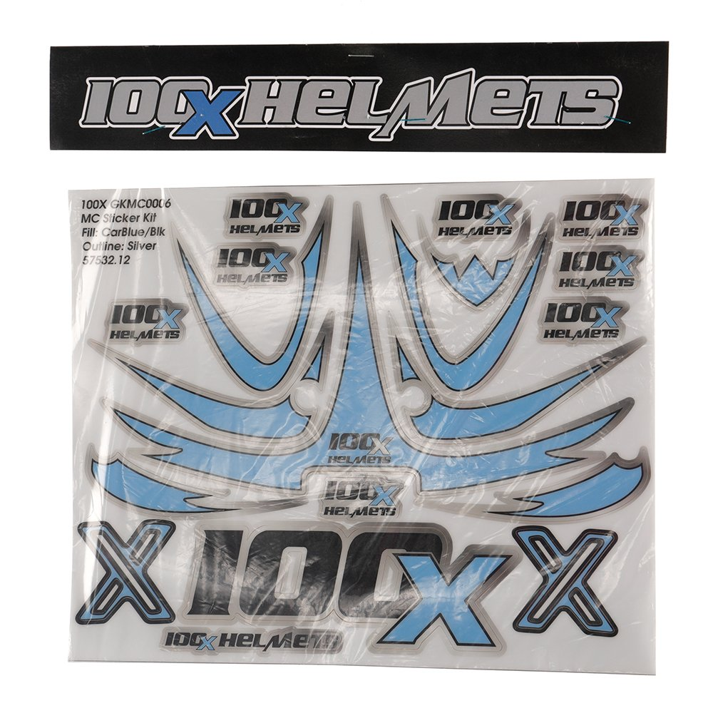 100 X Helmets Blue, Black, and Silver Sticker Set