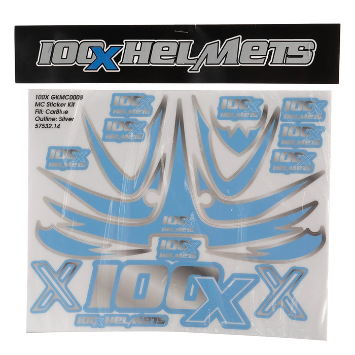 100 X Helmets Blue and Silver Sticker Set