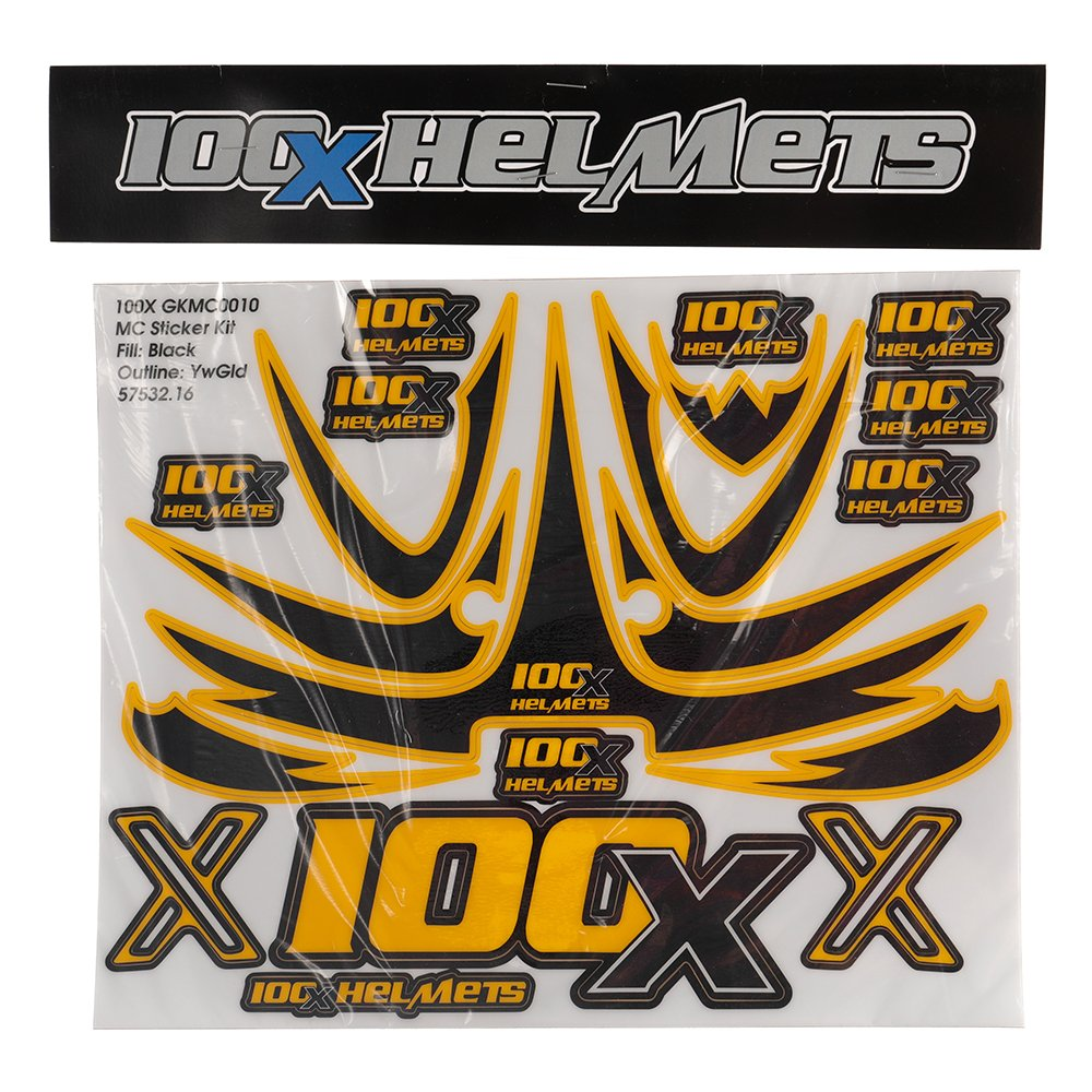 100 X Helmets Black and Yellow Sticker Set
