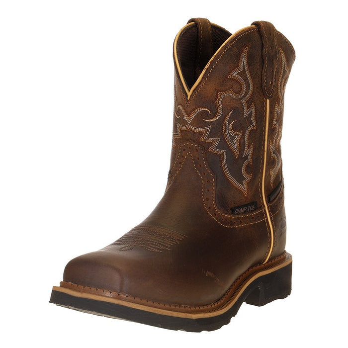 "Ladies Justin Jalena Maple Tan 8"" Maple Tan Top Water Proof Comp Toe Work Boot"