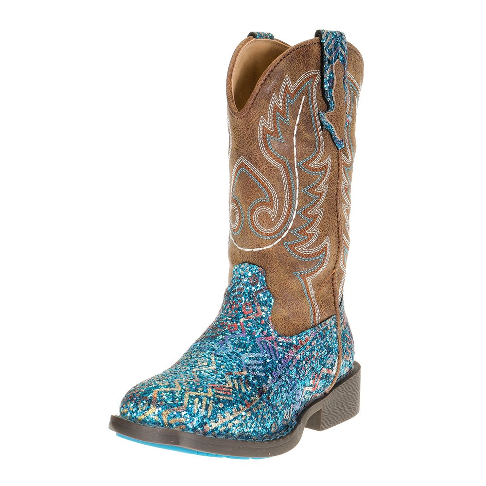 Kids Roper Blue Southwest Glitter Vamp Brown Shaft