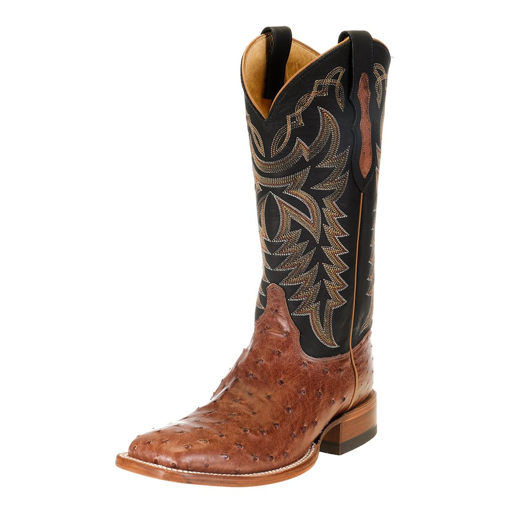 "Men's Justin Pascoe Rum Brown Full Quill Ostrich 13"" Black Chester Top Cowboy Boot"