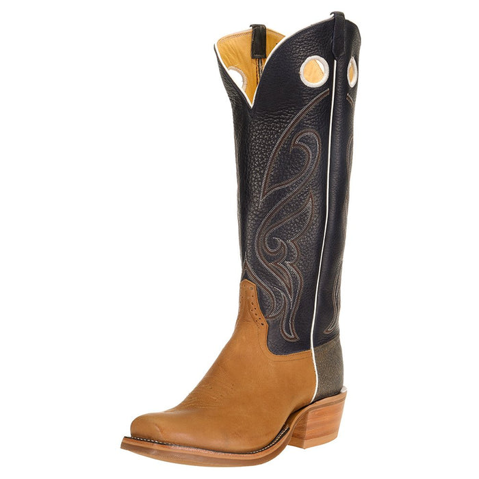 "Men's Ride Ready HD Golden Tan 15"" Navy Bulldozer Top Cutter Toe Cowboy Boot"