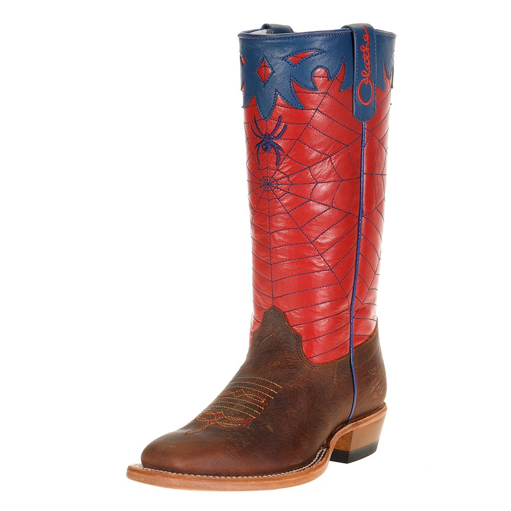 Kid's Olathe Red & Blue Spider Web Cowboy Boots