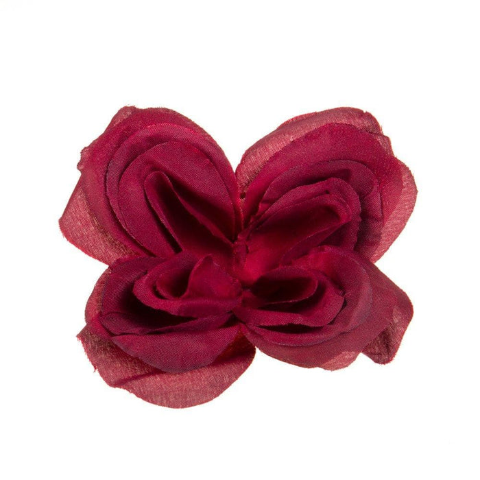 Deep Red Flower Bar Pin Hat Accent