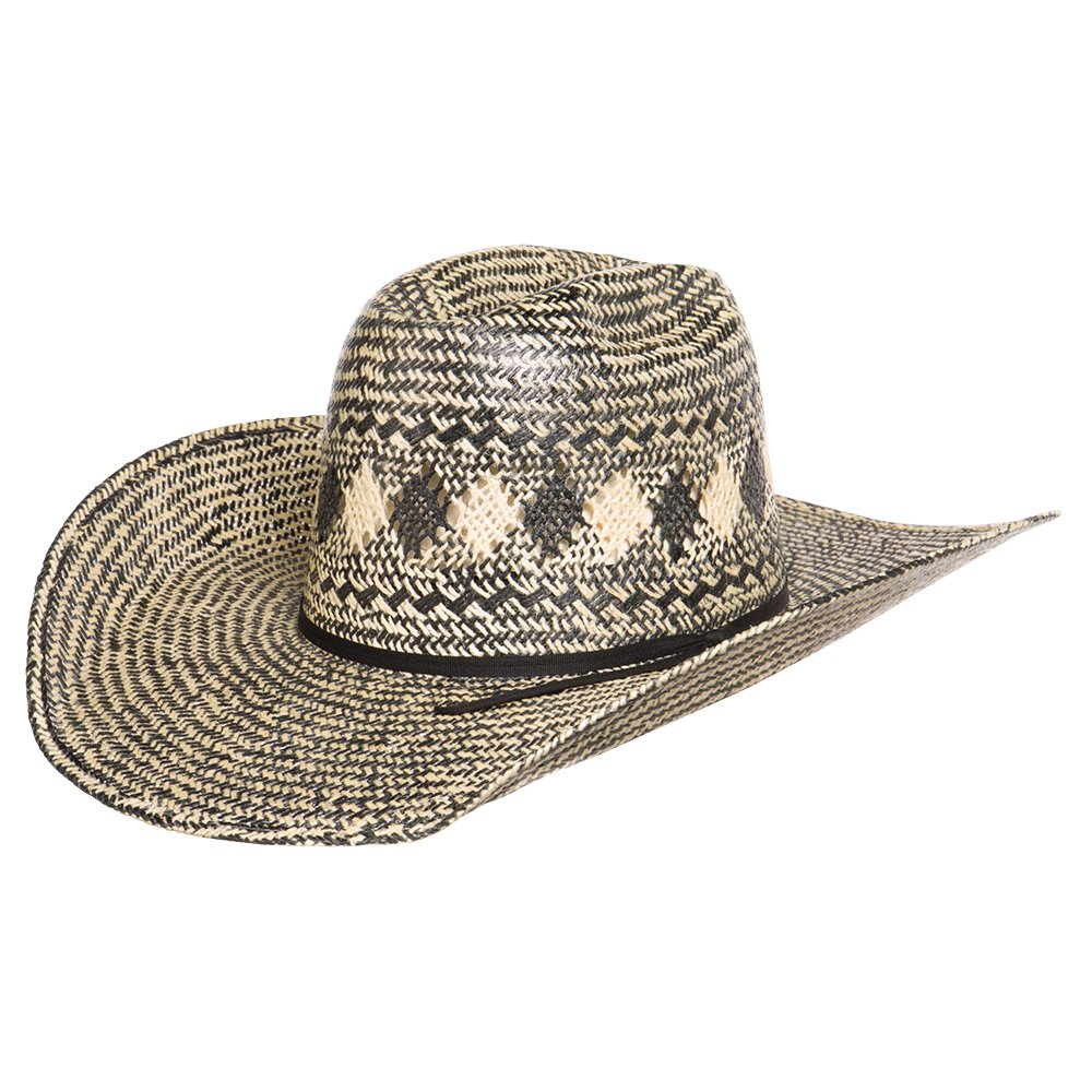 "Rodeo King Black and Ivory Jute 4 1/2"" Brim Open Crown Straw Hat"