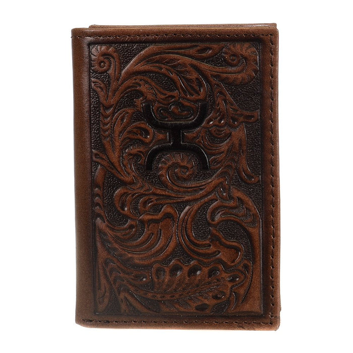Hooey Tri-fold Walnut Tooled Wallet