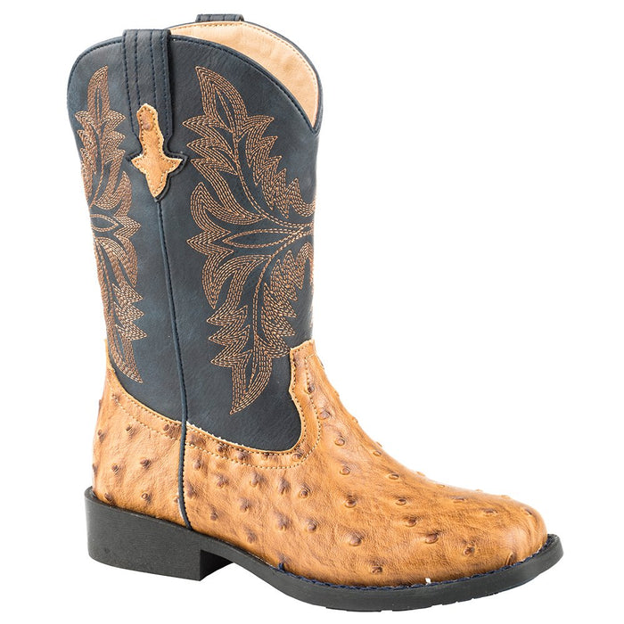 Kids Roper Tan Embossed Ostrich Vamp Cowboy Boot
