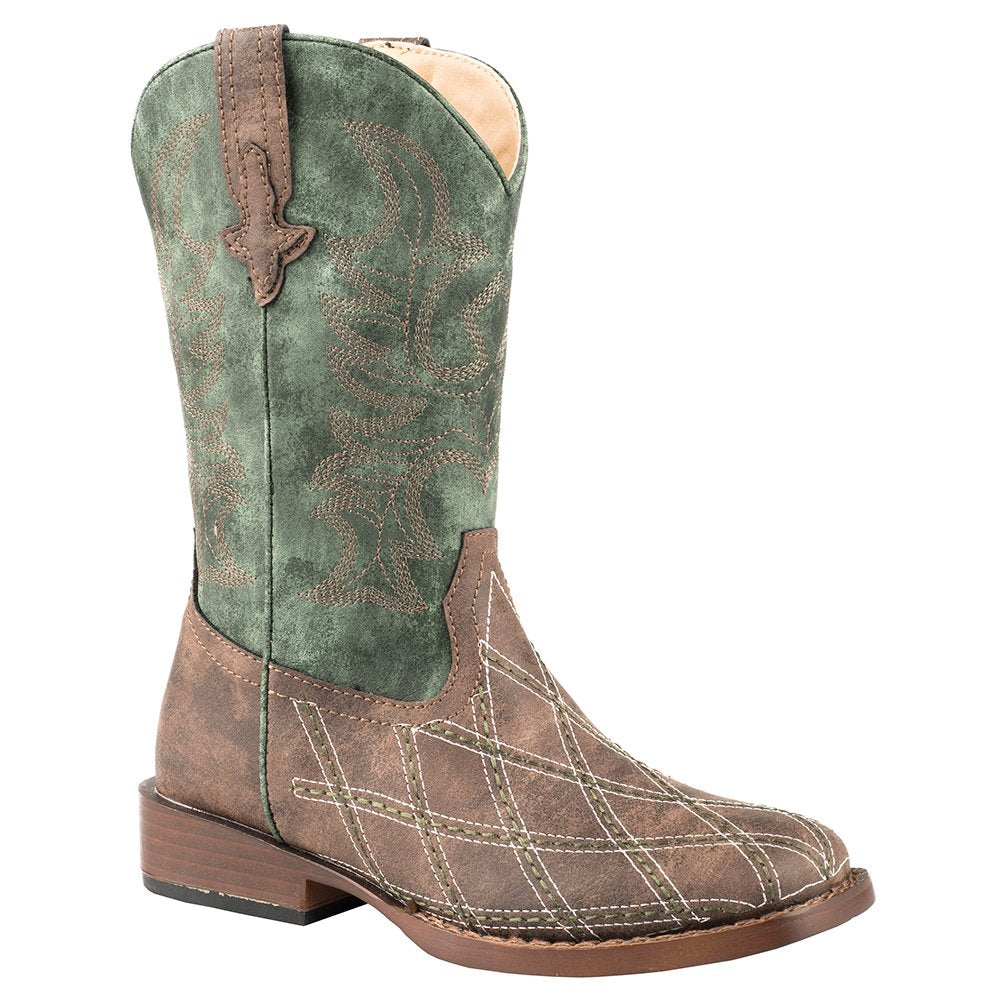Kids Roper Brown Vamp Checkered Stitching Green Shaft Boot