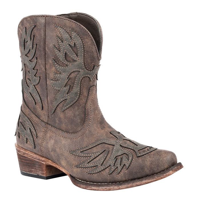 Women's Roper Brown Distressed With Chromatic Brown Eagle Booties