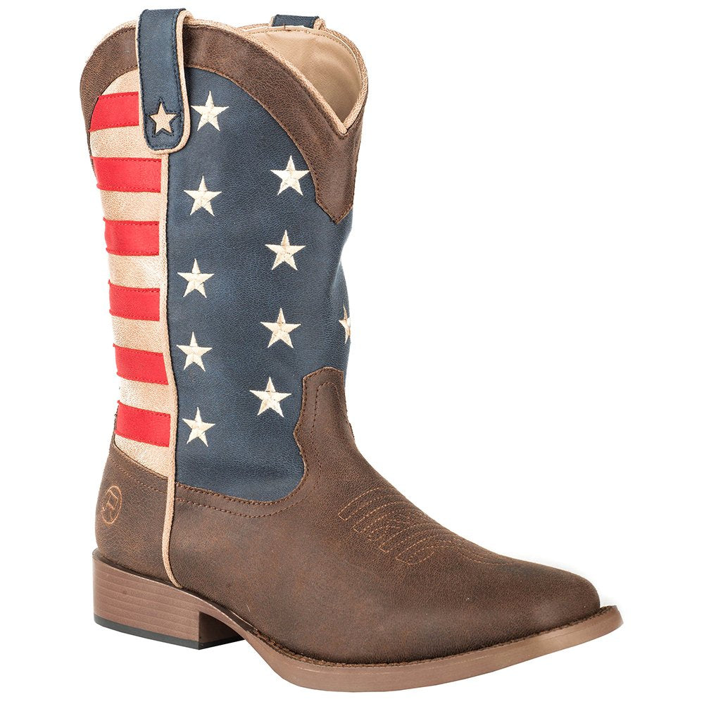 Men's Roper Brown Vamp Red, White and Blue Flag Cowboy Boot