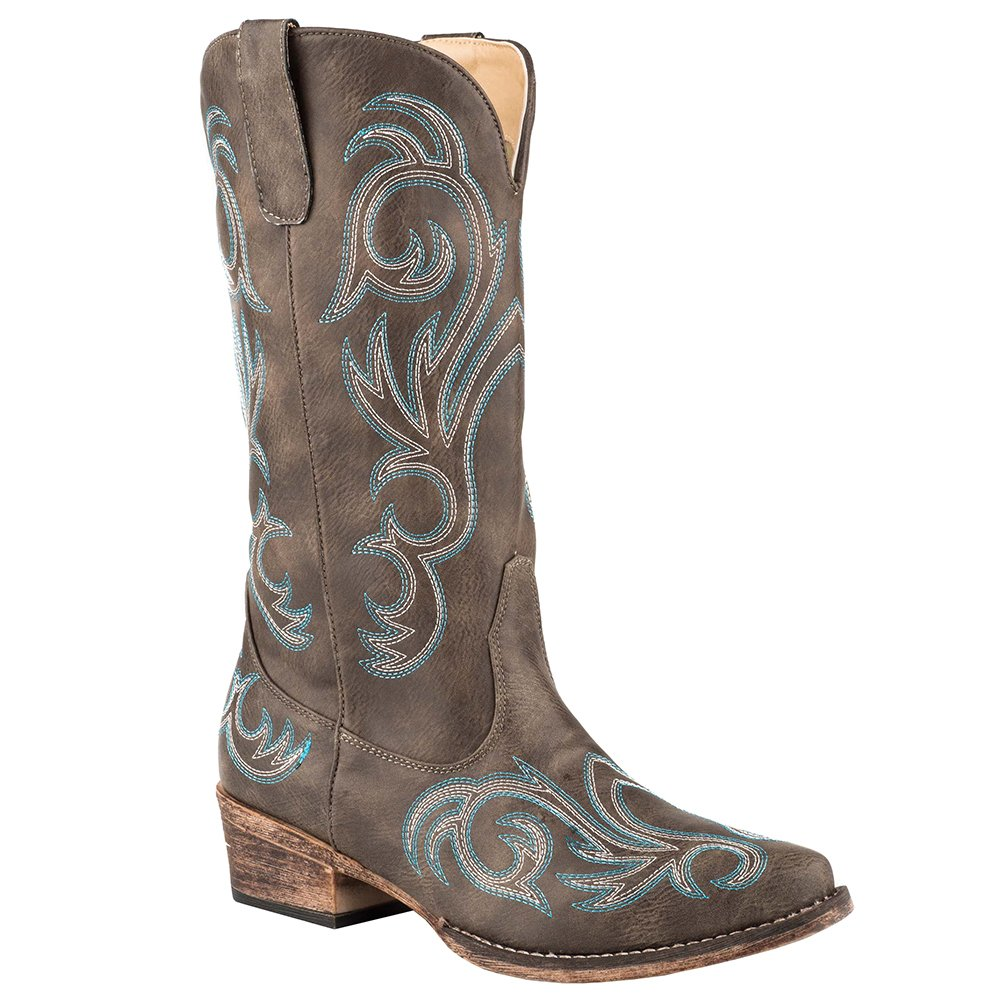 Women's Roper Brown With All Over Embroidery Snip Toe Boot