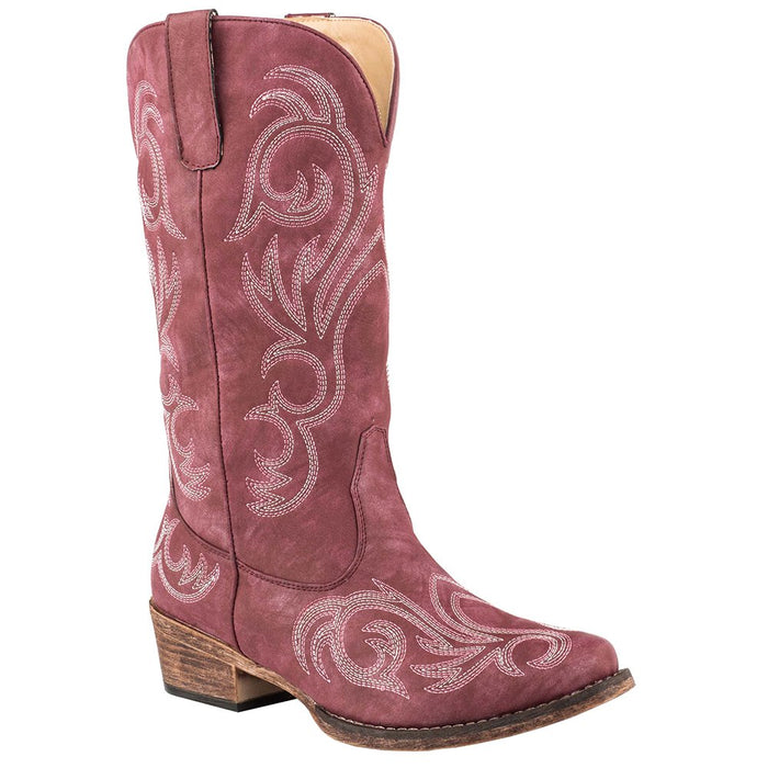 "Women's Roper 12"" Red Western With All Over Embroidery Snip Toe Boot"