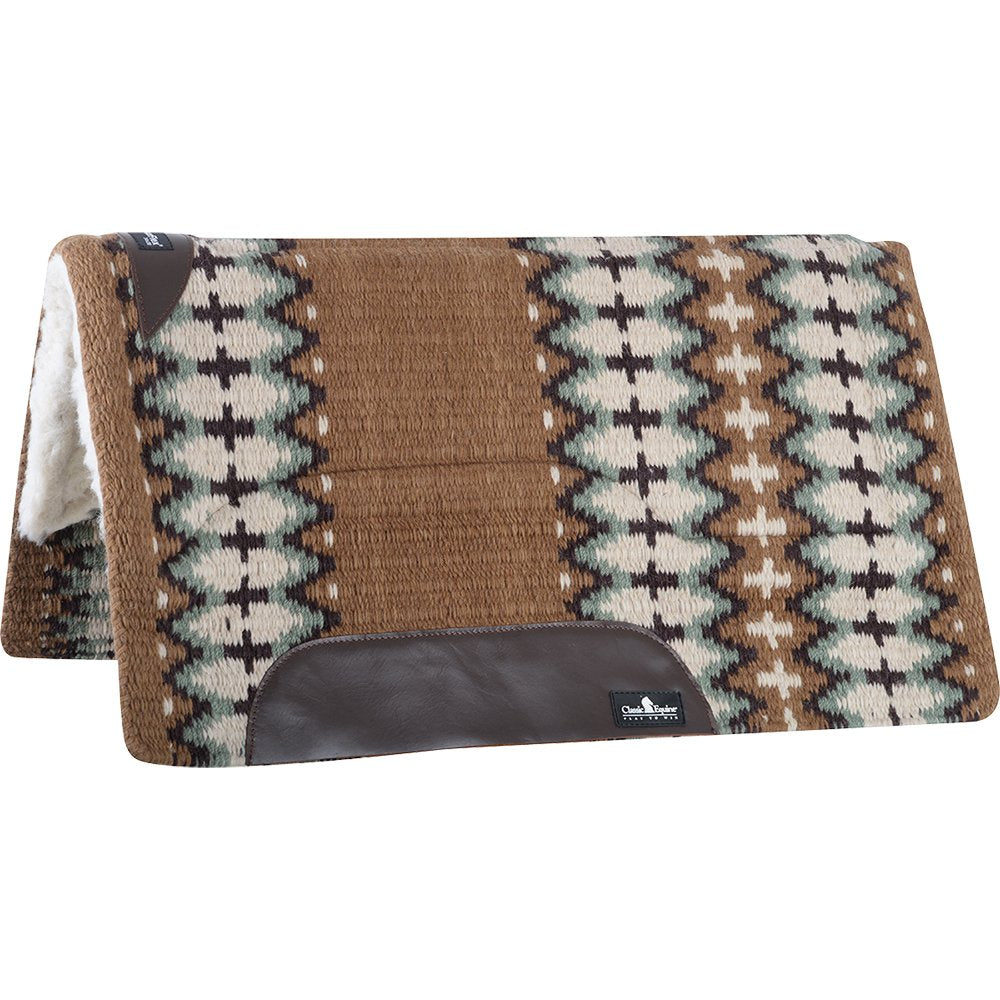 Classic Equine SensorFlex Wool Top 34 x 38 Saddle Pad Brown/Sage