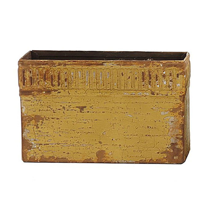 Creative Co-op Yellow Metal Box with Magnet