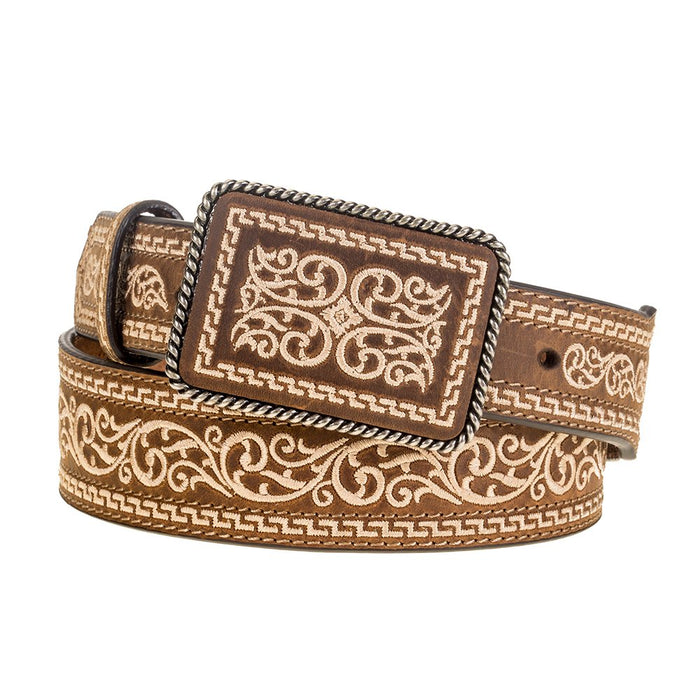 Men's Nocona Tan Belt with Stitching