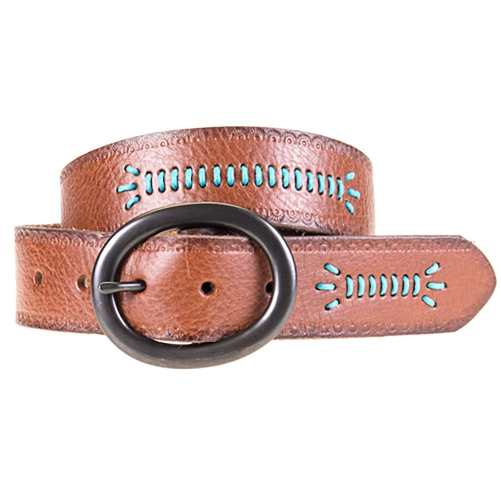 Women's Brown Embossed Leather Belt with Turquoise Stitching