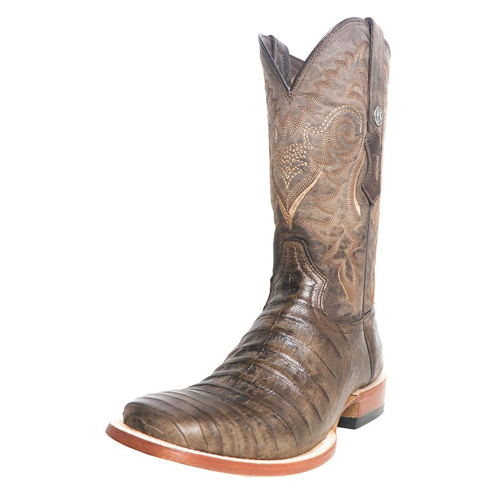 "Men`s Tanner Mark Brown Pull Up Caiman Belly 13"" Brown Top Square Toe Cowboy Boots"