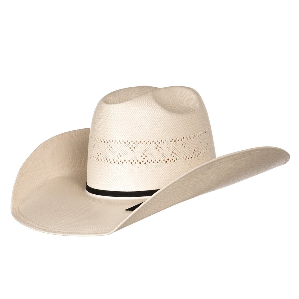 "American 20 Star Premium Shantung Fancy Weave Open Crown 4-1/4"" Straw Cowboy Hat"