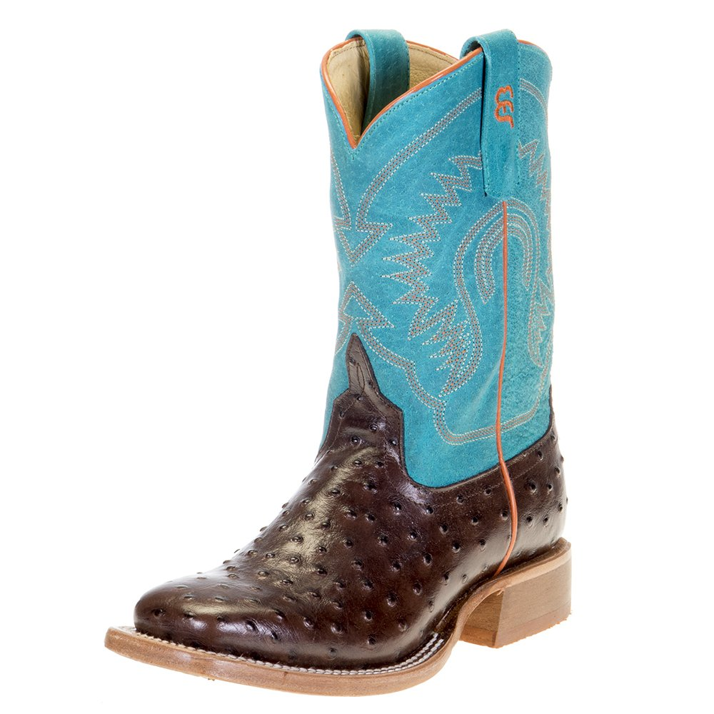 Kids Horse Power Chocolate Impostrich Turquoise Sinsation Top Cowboy Boots