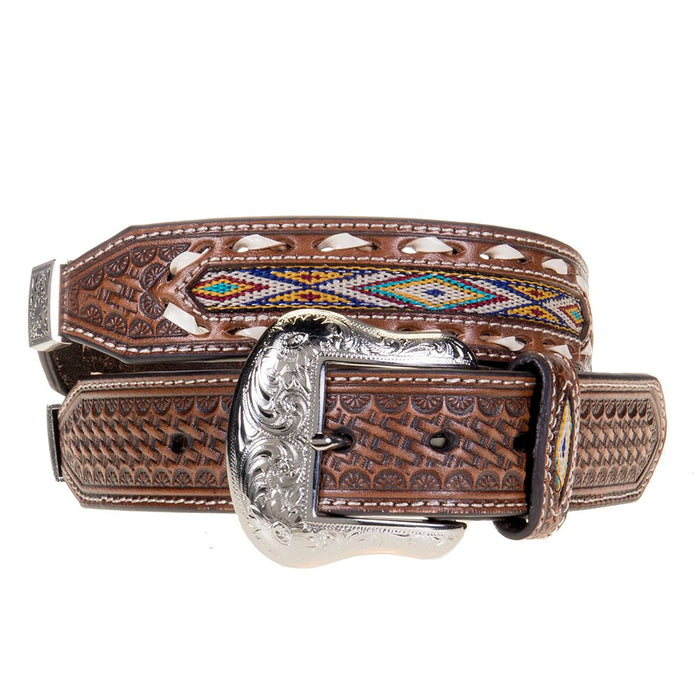 Men's Nocona Western Belt with Conchos and Inlay