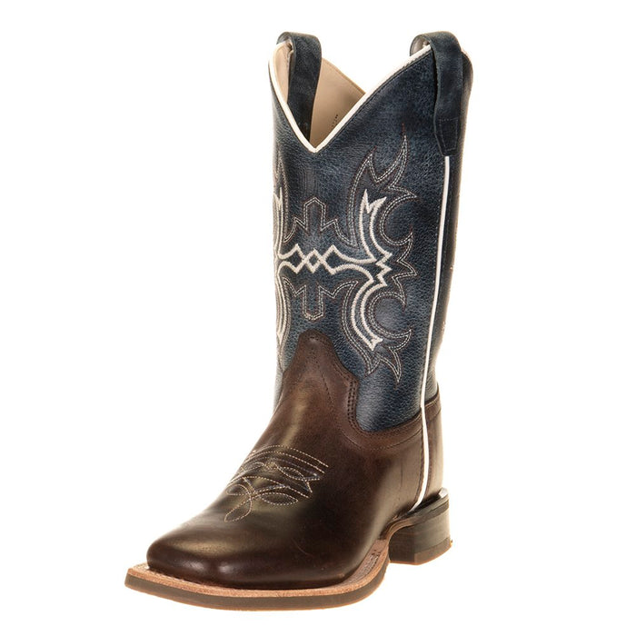 Kids Old West Wipe Out Blue Shaft Brown Foot Cowboy Boots