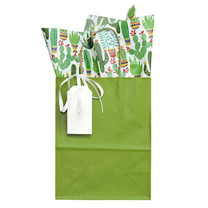Green Gift Bag with Cactus Tissue Paper