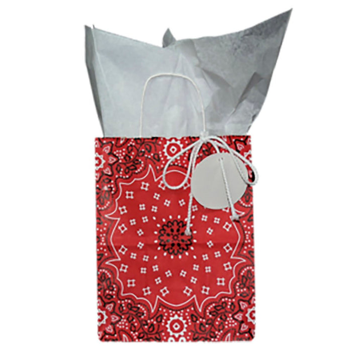 Red Bandana Gift Bag with White Tissue Paper