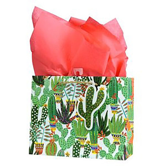 Cactus Gift Bag with Coral Tissue Paper