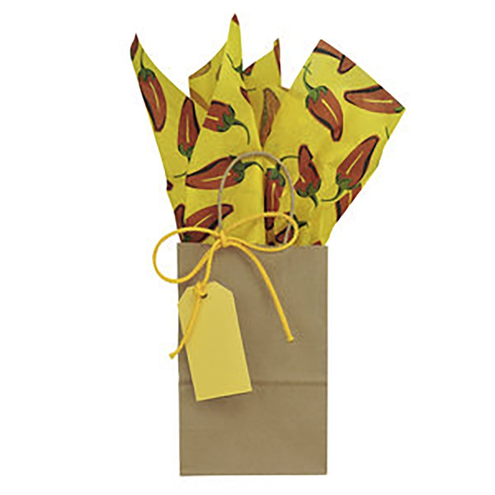 Craft Gift Bag with Chili Pepper Tissue Paper