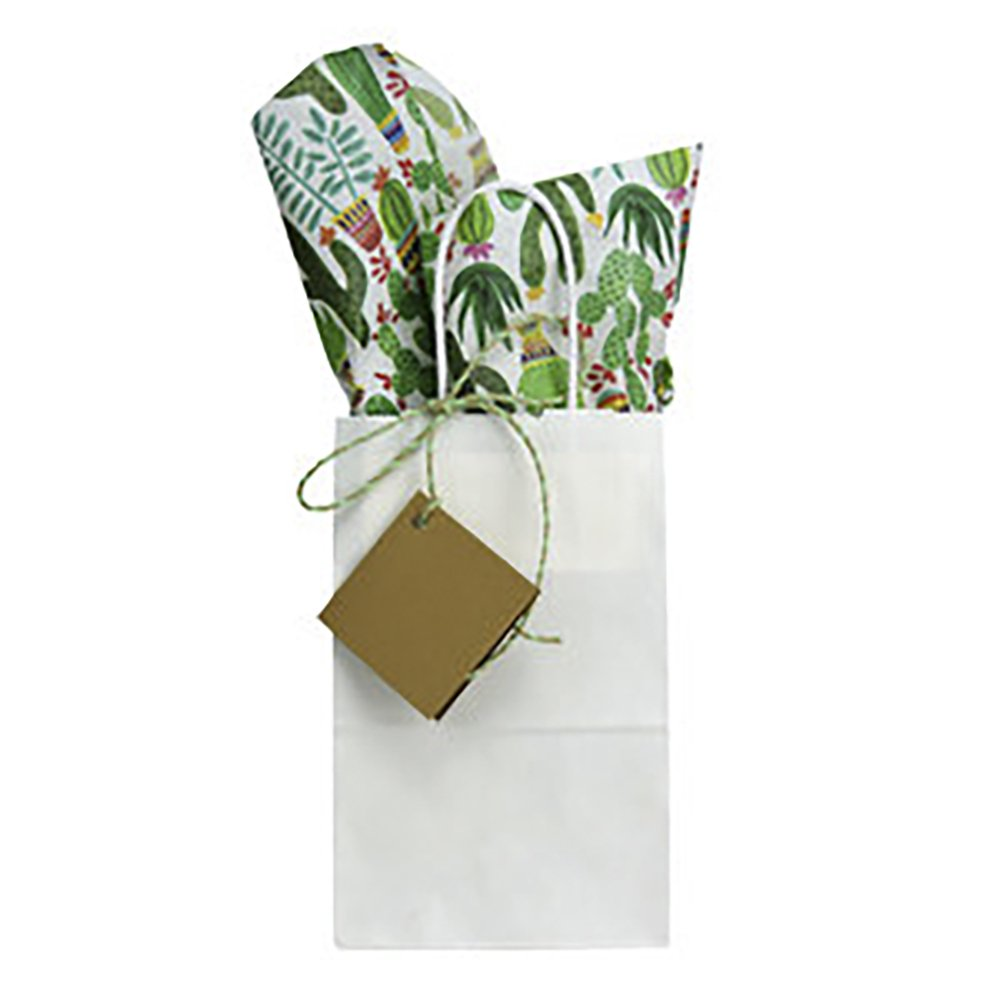 White Gift Bag with Cactus Print Tissue Paper