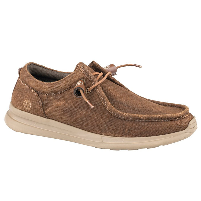 Men's Roper Chillin Low Brown Canvas Slip On Casual Shoe