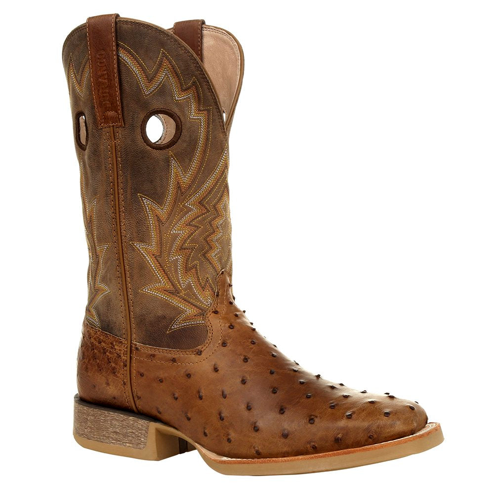 Mens Durango Rebel Pro 12` Tobacco Full Quill Ostrich