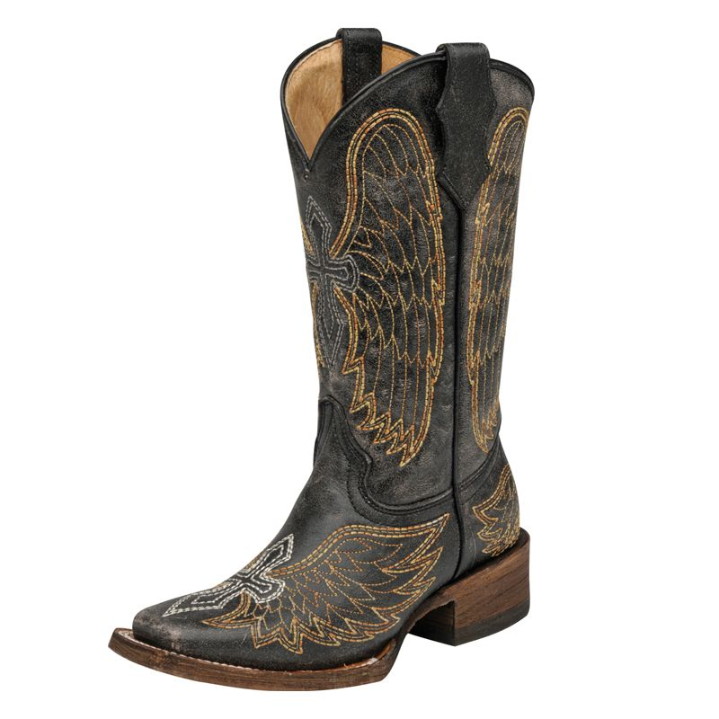 Girl's Corral Black/Silver/Gold Wings & Cross-10in Top Cowgirl Boots