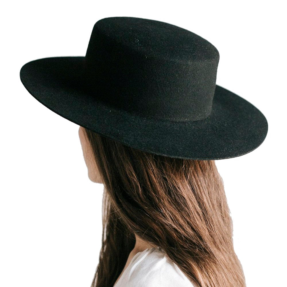 Gigi Pip Dahlia Boater Black Felt Fashion Hat