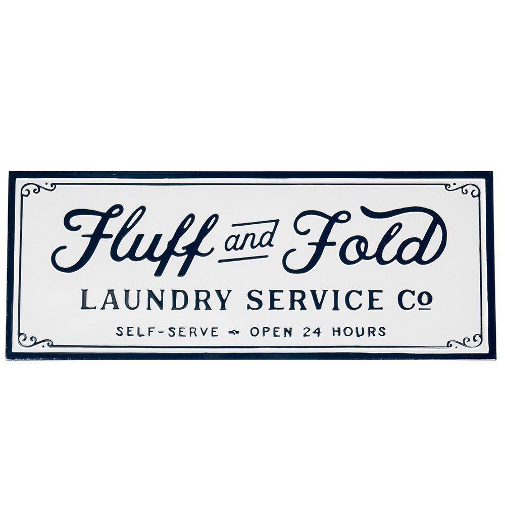Creative Co-Op Fluff and Fold Laundry Service Wall Decor