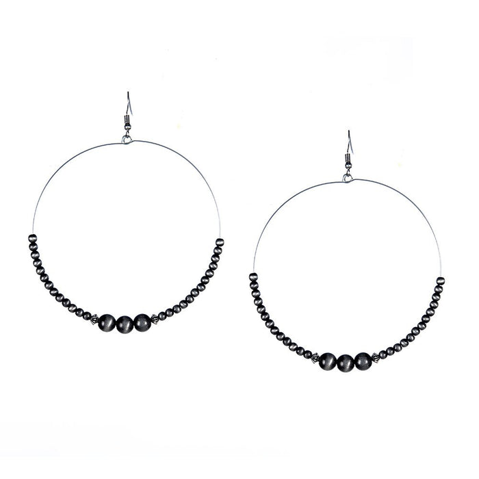 J West and Company Faux Navajo Pearl Wire Beaded Hoop Earrings