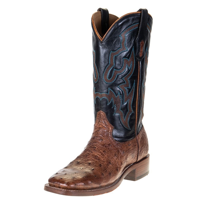 "Men's Corral Rodeo Performance Cognac FQ Ostrich 12"" Black Embroidery Top Square Toe"