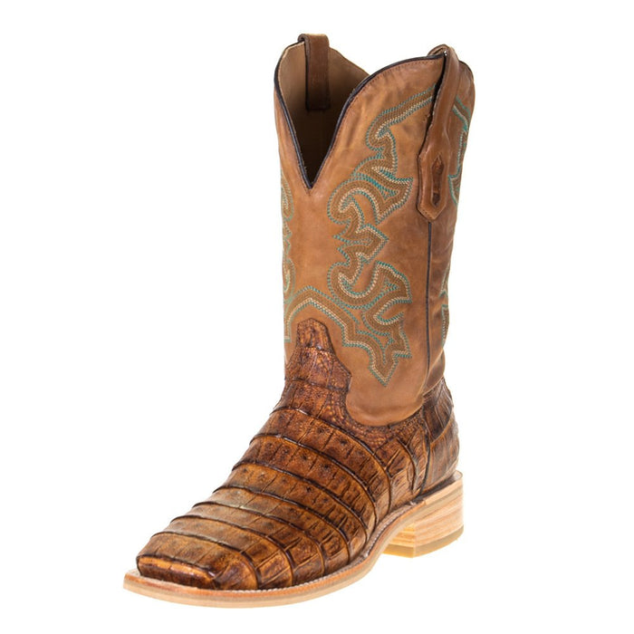"Men's Corral Rodeo Performance Antique Saddle Caiman 12"" Tan Embroidery Top"