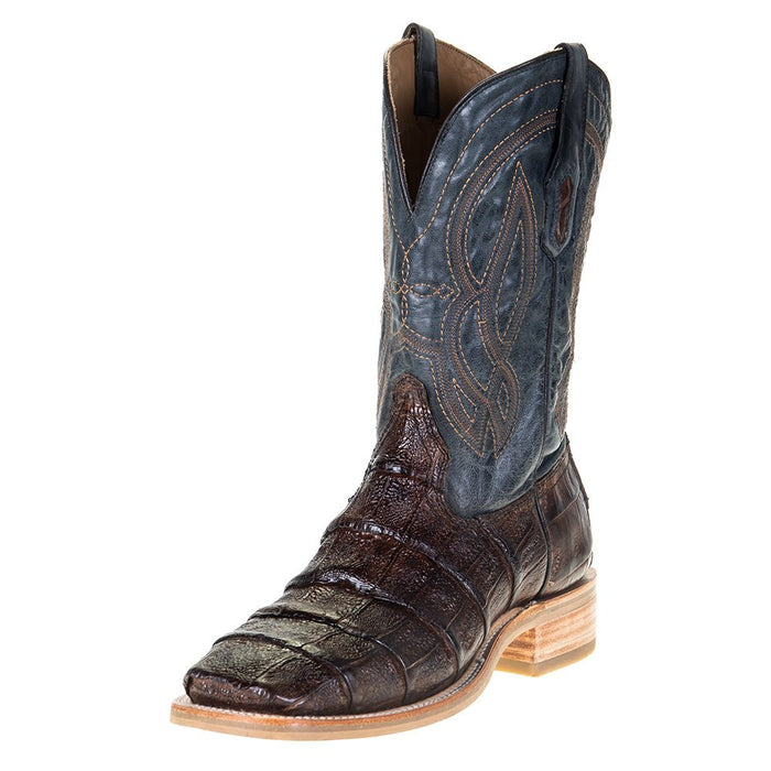 "Men's Corral Rodeo Performance Chocolate Caiman 12"" Blue Embroidery Top Square Toe"