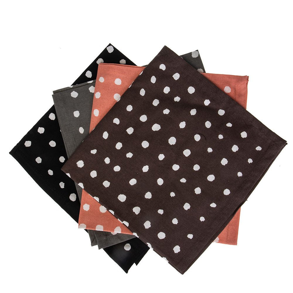 Creative Co-Op 4 Piece Cotton Polka Dot Napkins